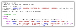 A (partial) response, from the SillySIP administrative console, for a successful login