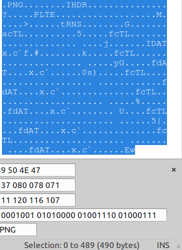 Ascii contents of test case after removing crashing bytes
